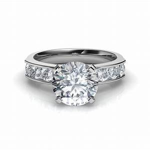 Round cut diamond engagement ring with 8 side diamonds for Diamond wedding ring settings