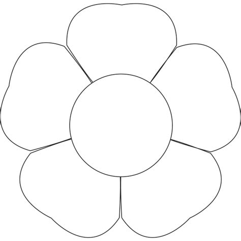 5 petal flower template free printable 5 petal flower pattern template clipground