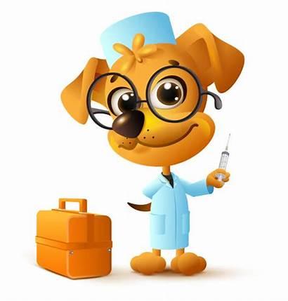 Dog Doctor Vector Cartoon Holding Funny Vet