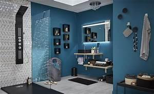 Salle De Bain Italienne Leroy Merlin : une salle de bains bleue avec une douche l 39 italienne ~ Melissatoandfro.com Idées de Décoration