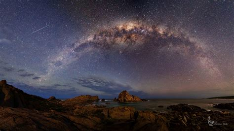 Galaxy Milky Night Rock Sky Space Stars Wallpaper