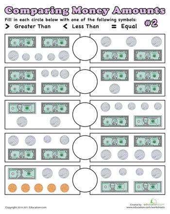 comparing money amounts education