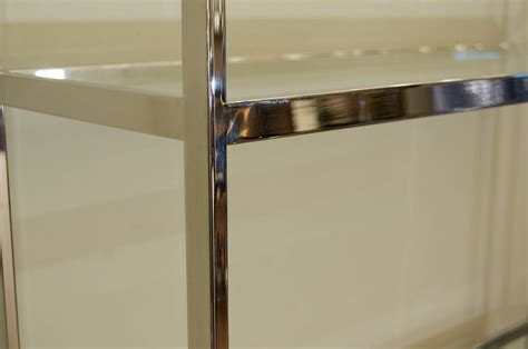 Milo Baughman Style Chrome And Glass Etagere For Sale At