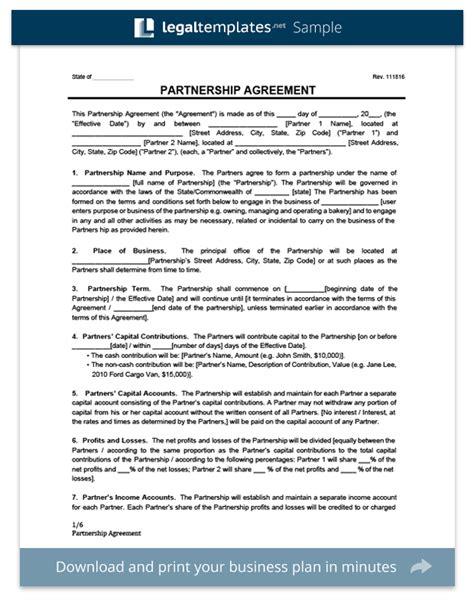 partnership agreement template create  partnership