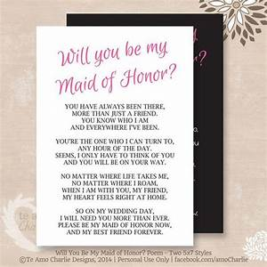 will you be my matron of honor poem instant download With maid of honor proposal letter