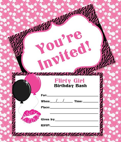 birthday invitations classic fine pink color themed