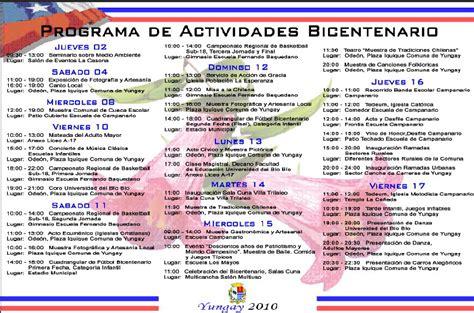 programa de actividades bicentenario fiestas patrias yungay 2010 yungayino cl