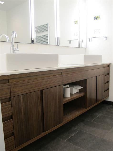 amazing brown solid plywood custom floating vanity