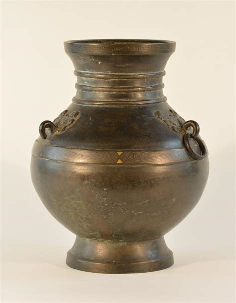 Gold And Silver Vase by Bronze Vase With Gold And Silver Inlay