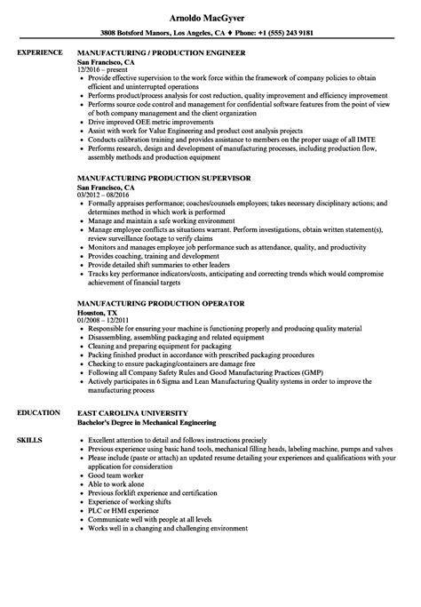 Manufacturing Resume by Manufacturing Production Resume Sles Velvet