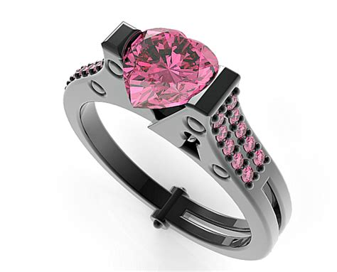 Black Gold Pink Sapphire Handcuff Engagement Ring