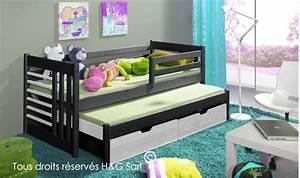 Lit D Enfant Avec Barrière : lit gigogne design pour enfant en bois massif avec rangement ~ Premium-room.com Idées de Décoration