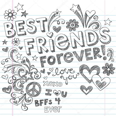 not lagu love me like you do best friends forever bff back to school sketchy doodles vector stock vector blue67 11800091