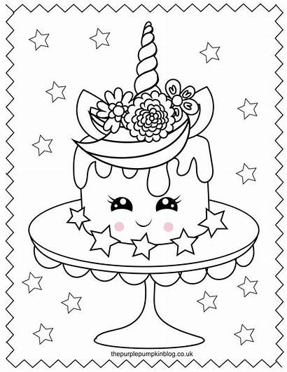 Unicorn Coloring Pages Printable Colouring Sweet Cake