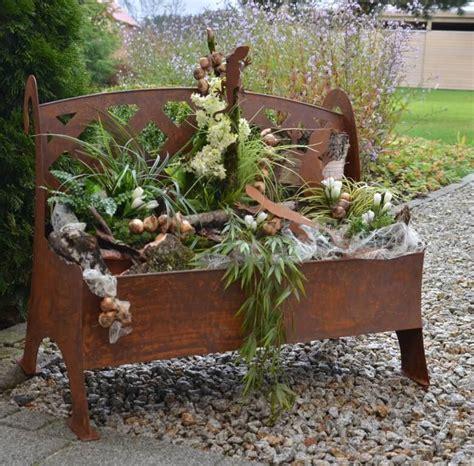 Edelrost Metallbank Zum Bepflanzen  Angels Garden Dekoshop