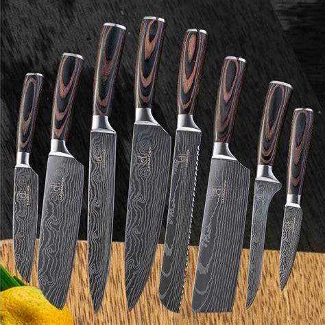 kitchen knife knives chef damascus damask wooden handle 8pcs larger