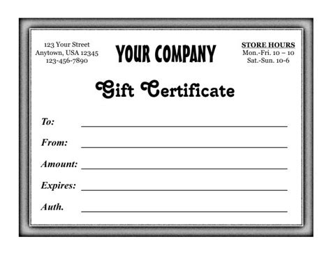 4 5 x 11 gift card template gift certificate template 5 7