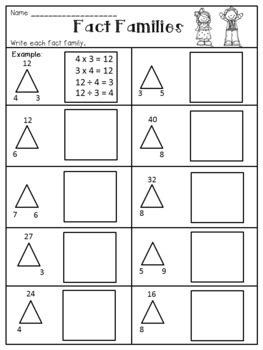 multiplication  division fact families worksheets