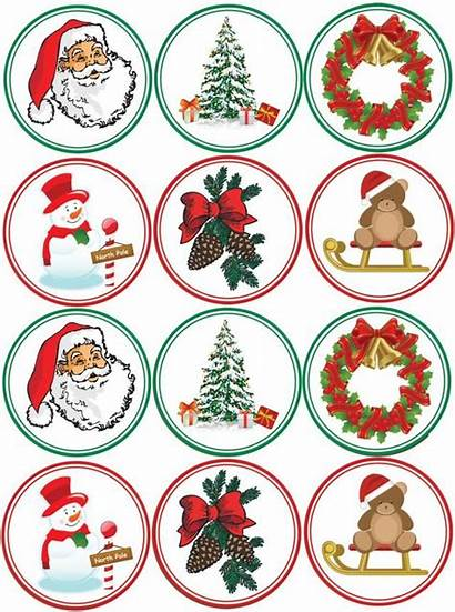 Christmas Stickers Cupcake Printable Toppers Own Printables