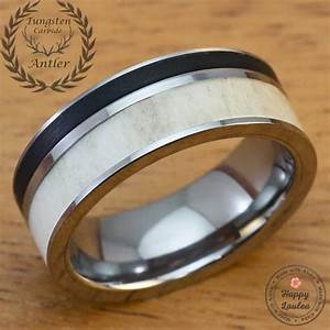 solid antler and brushed black onyx tungsten carbide men39s With black onyx wedding ring mens