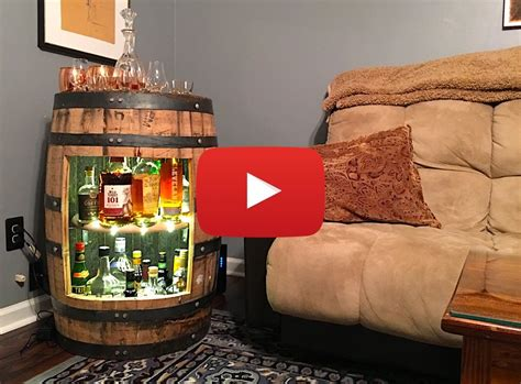 build  whiskey  wine barrel liquor cabinet video
