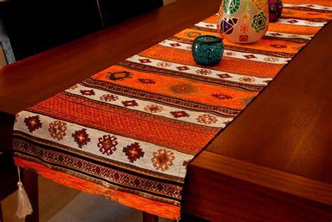 table runner anatolian series orange silkcotton