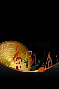 Golden Disk and Music Notes on Black Background | Stock ...