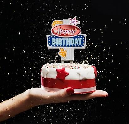Birthday Cake Retro Sign Topper Flashing Happy