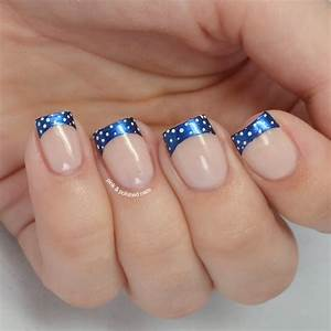 Pink & Polished: Navy french tips with white baby dots