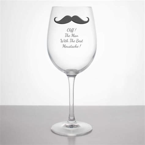 moustache personalised wine glass