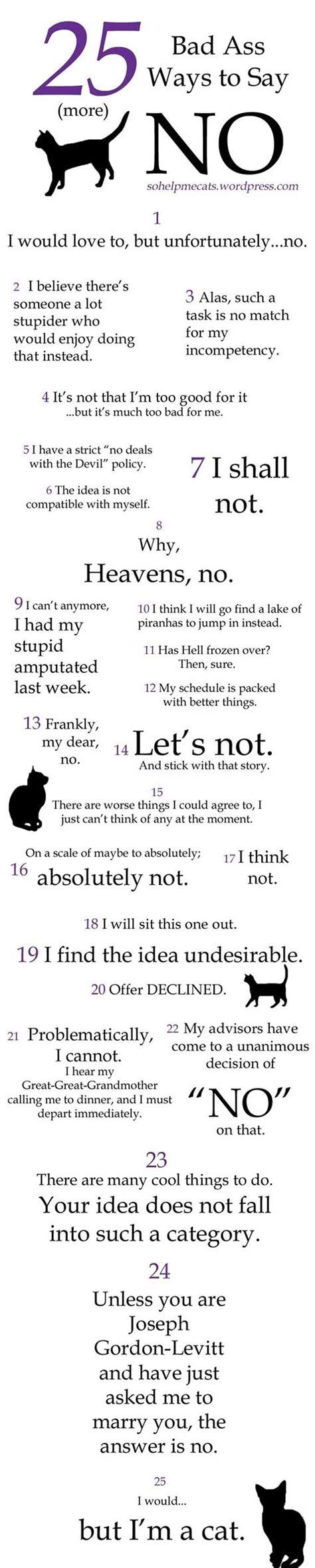 25 Funny Ways To Say No
