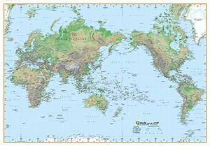 World Physical Map 100 Ubd 1010 X 710mm Laminated