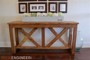 DIY X-Brace Console Table - Free Plans - Rogue Engineer