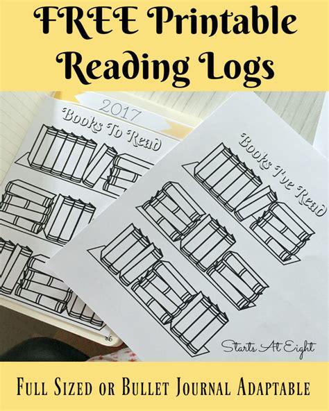 Free Printable Reading Logs  Full Sized Or Adjustable For Your Bullet Journal Startsateight