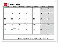 Calendario marzo 2019, Comunidad de Madrid Michel Zbinden ES