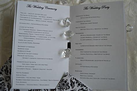 inspired  dos damask wedding programs  catholic