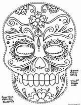 Coloring Adult Pages Simple Sugar Skull Printable Getcolorings sketch template