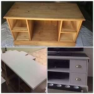 Meuble Tv Bois Gris : meuble tv en bois ponc et repeint en gris poivr luxens d co pinterest tvs ~ Teatrodelosmanantiales.com Idées de Décoration