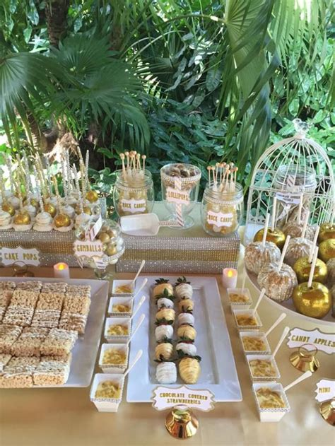 White And Gold Wedding Dessert Table Candy Apples Rice