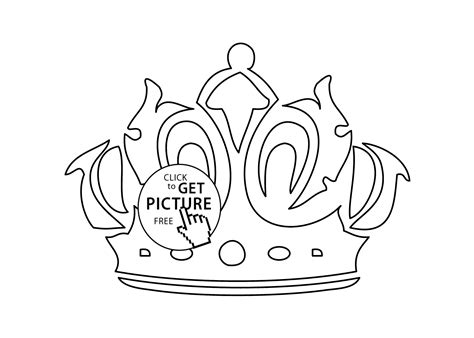 Crown Coloring Page For Girls, Printable Free