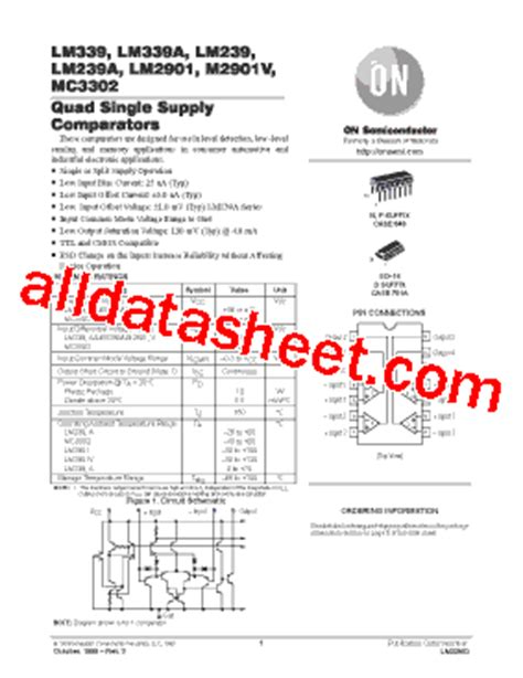 LM339 Datasheet(PDF) - ON Semiconductor
