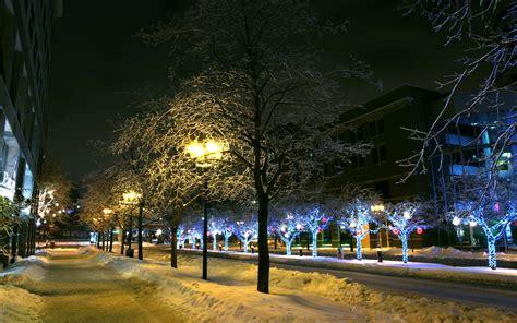 wallpaper christmas  year city night street snow