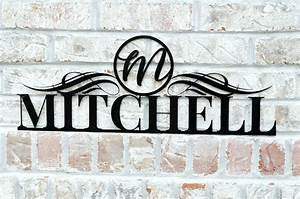 Personalized, Metal, Name, Sign, With, Circle, Monogram