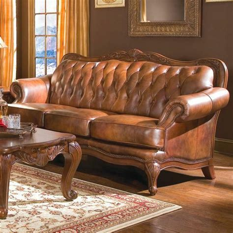 Tufted Leather Loveseat by Button Tufted Top Grain Three Color Brown Leather Sofa
