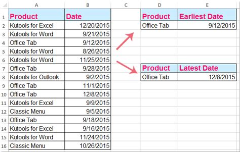 how to find the earliest or latest date base criteria in excel