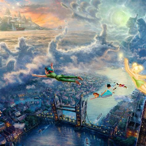 ah peterpan illust art thomas kinkade papersco