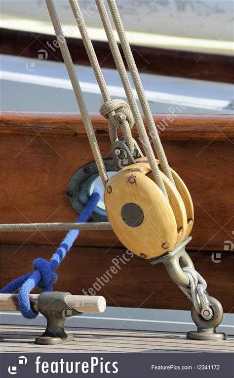 watercraft sailing pulley stock picture