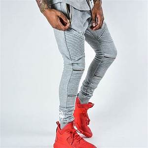Zipper On knee And Zipper Pocket Mens Biker Sweatpants Swag Baggy Tapered Pants Pleated 3 Colors ...