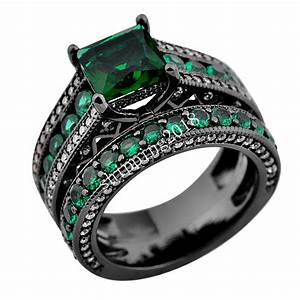 Cz wedding band green emerald set rings sz 6 10 black gold for Emerald green wedding ring