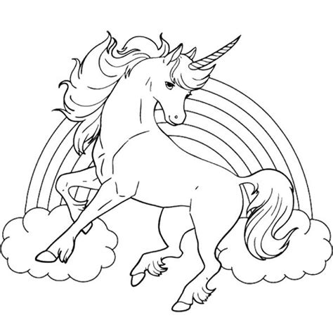 unicorn horse  rainbow coloring page  kids